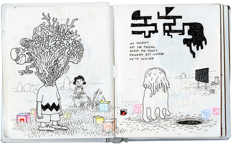 "Untitled (Charlie Brown), ink on paper, 9"" × 6.25"", 2016"